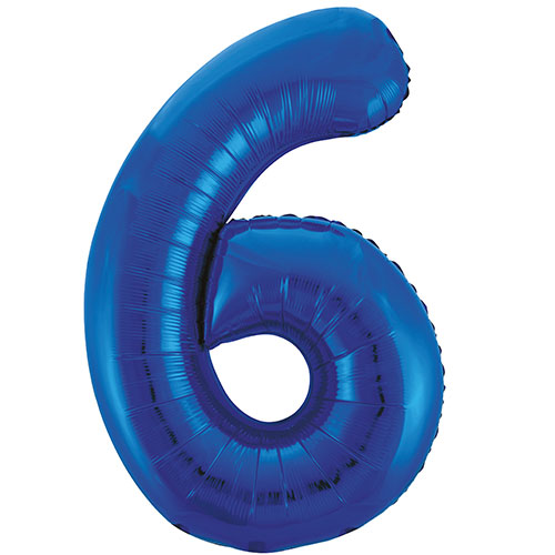 Blue Number 6 Supershape Foil Helium Balloon 86cm / 34 in  Bundle Product Image