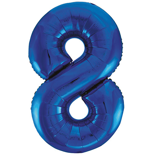 Blue Number 8 Helium Foil Giant Balloon 86cm / 34 in Bundle Product Image