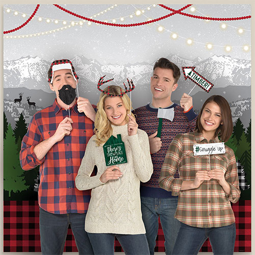Cosy Holiday Scene Setters With Photo Booth Props Christmas Backdrop Kit