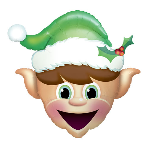 Christmas Elf Head Helium Foil Giant Qualatex Balloon 89cm / 35 in