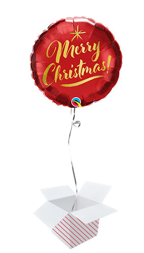 Christmas Gold Script Round Foil Helium Qualatex Balloon - Inflated Balloon in a Box