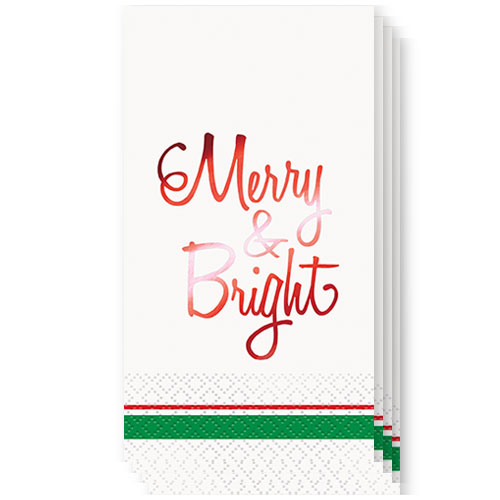 Christmas Red Foil Merry & Bright Guest Napkins 39cm x 33cm 3Ply - Pack of 16