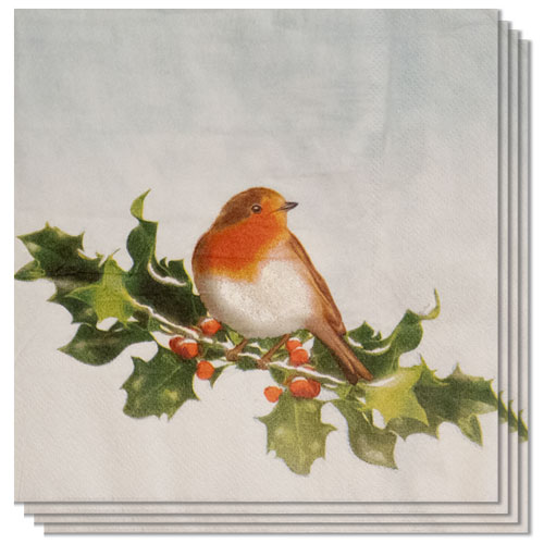 Christmas Robin Paper Napkins 33cm 2 Ply - Pack of 16