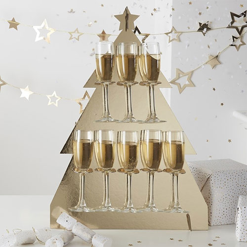 Gold Christmas Tree Shaped Prosecco Drinks Wall Holder 64cm