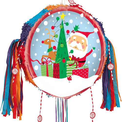 Christmas Pinata.Colourful Santa Christmas Pull String Pinata
