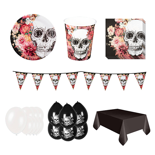 Day Of The Dead Flowers 12 Person Deluxe Party Pack