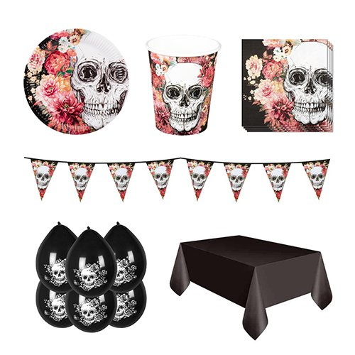 Day Of The Dead Flowers 6 Person Deluxe Party Pack
