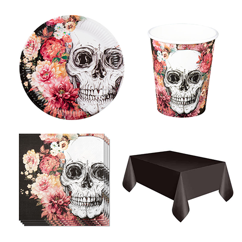 Day Of The Dead Flowers 6 Person Value Party Pack
