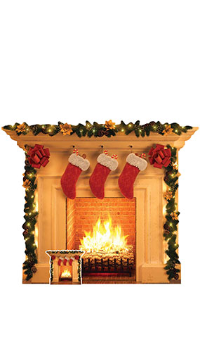 Festive Christmas Fireplace Lifesize Cardboard Cutout 121cm Product Gallery Image