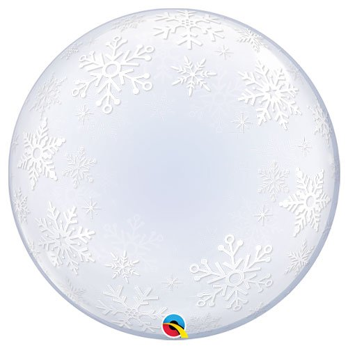 Frosty Snowflakes Deco Bubble Helium Qualatex Balloon 61cm / 24 in Product Image