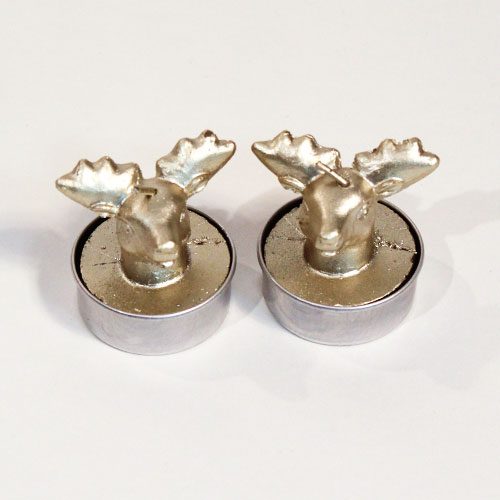 Gold 3D Deer Christmas Candle Tea Lights - Pack of 2