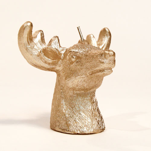 Gold Deer Head Christmas Candle Decoration 9cm
