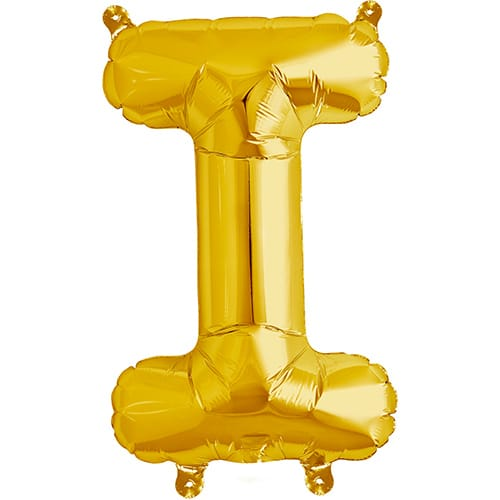 Letter I Gold Air Fill Foil Balloon 40cm / 16 in Product Image