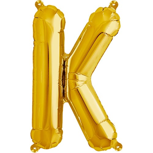 Letter K Gold Air Fill Foil Balloon 40cm / 16 in Product Image