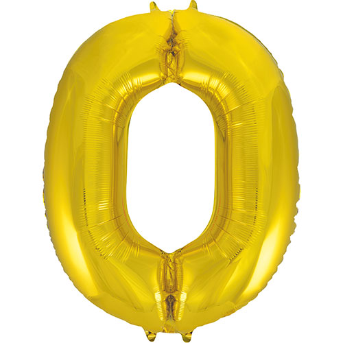 Gold Number 0 Helium Foil Giant Balloon 86cm / 34 in Bundle Product Image
