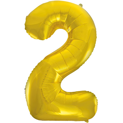 Gold Number 2 Supershape Foil Helium Balloon 86cm / 34 in Product Image