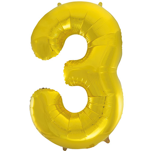 Gold Number 3 Supershape Foil Helium Balloon 86cm / 34 in Product Image