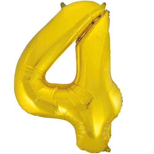 Gold Number 4 Helium Foil Giant Balloon 86cm / 34 in Bundle Product Image