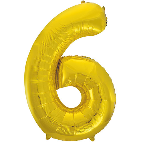 Gold Number 6 Supershape Foil Helium Balloon 86cm / 34 in Bundle Product Image