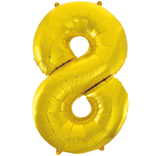 Gold Number 8 Helium Foil Giant Balloon 86cm / 34 in Bundle Product Image