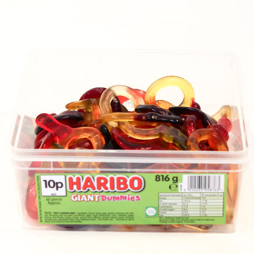 Haribo Giant Dummies Fruit Flavour Jelly Sweets - Pack of 60