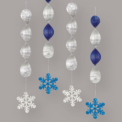Holographic Christmas Snowflakes Spiral Hanging Decorations - Pack of 4