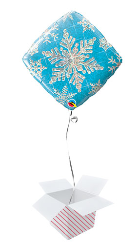 Blue Snowflake Holographic Diamond Shape Christmas Foil Helium Qualatex Balloon - Inflated Balloon in a Box