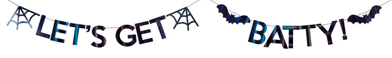 Let's Get Batty Iridescent Black Halloween Cardboard Letter Banner 2m