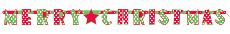 Merry Christmas Dots Cardboard Jointed Letter Banner 165cm