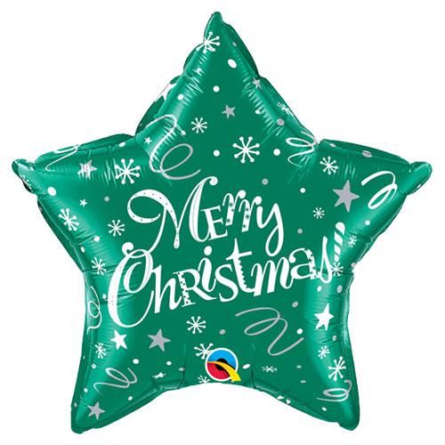 Merry Christmas Festive Green Star Foil Helium Qualatex Balloon 51cm / 20 in