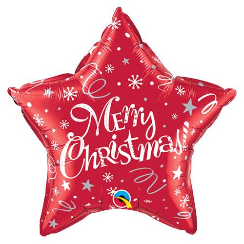 Merry Christmas Festive Red Star Foil Helium Qualatex Balloon 51cm / 20 in