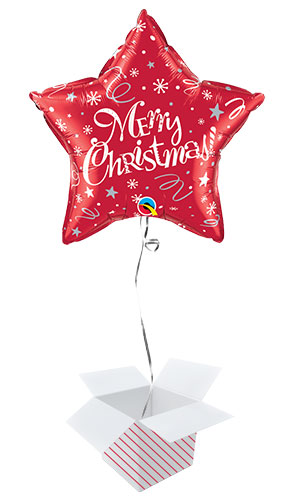 Merry Christmas Festive Red Star Foil Helium Qualatex Balloon - Inflated Balloon in a Box