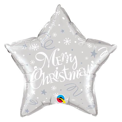 Merry Christmas Festive Silver Star Foil Helium Qualatex Balloon 51cm / 20 in