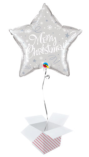 Merry Christmas Festive Silver Star Foil Helium Qualatex Balloon - Inflated Balloon in a Box