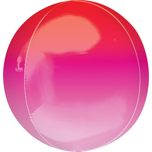 Ombre Red And Pink Orbz Foil Helium Balloon 38cm / 15 in