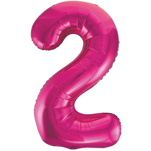Pink Number 2 Supershape Foil Helium Balloon 86cm / 34 in  Bundle Product Image