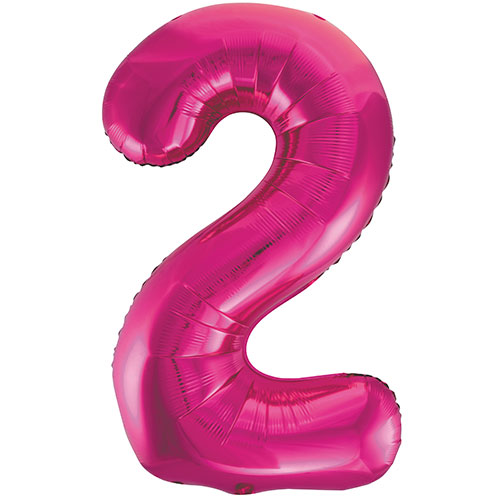 Pink Number 2 Helium Foil Giant Balloon 86cm / 34 in Bundle Product Image