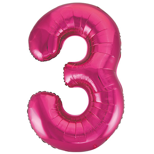 Pink Number 3 Helium Foil Giant Balloon 86cm / 34 in Bundle Product Image