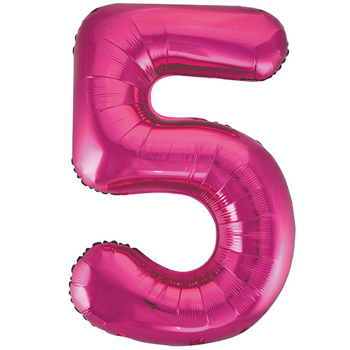Pink Number 5 Helium Foil Giant Balloon 86cm / 34 in Bundle Product Image