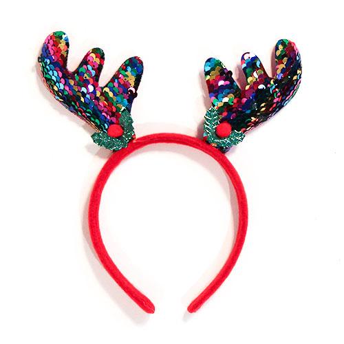 Rainbow Sequin Antlers Headband Christmas Fancy Dress