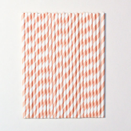 Rose Gold Chevron Premium Quality Striped Paper Straws - Pack of 24