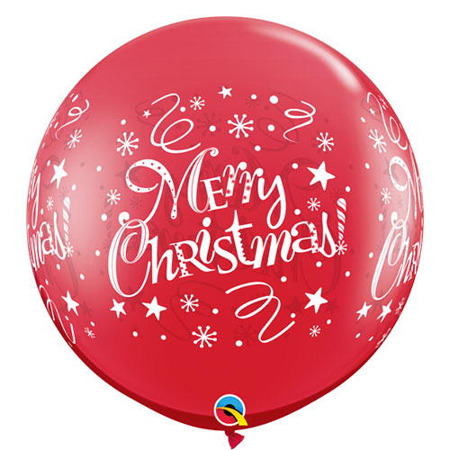 Ruby Red Merry Christmas Round Jumbo Latex Qualatex Balloons 91cm / 36 in - Pack of 2