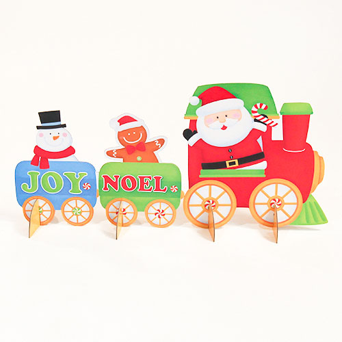 "25cm//10/"" Cardboard Christmas SANTA /& Characters in TRAIN Tabletop CENTREPIECE"