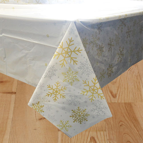 Silver And Gold Snowflakes Christmas Plastic Tablecover 213cm x 137cm