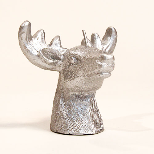 Silver Deer Head Christmas Candle Decoration 9cm