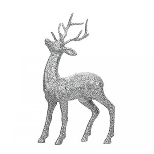 Silver Glitter Reindeer Christmas Decoration 26cm
