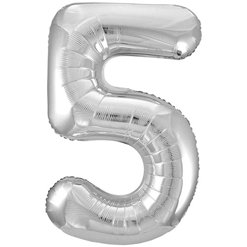Silver Number 5 Helium Foil Giant Balloon 86cm / 34 in Bundle Product Image