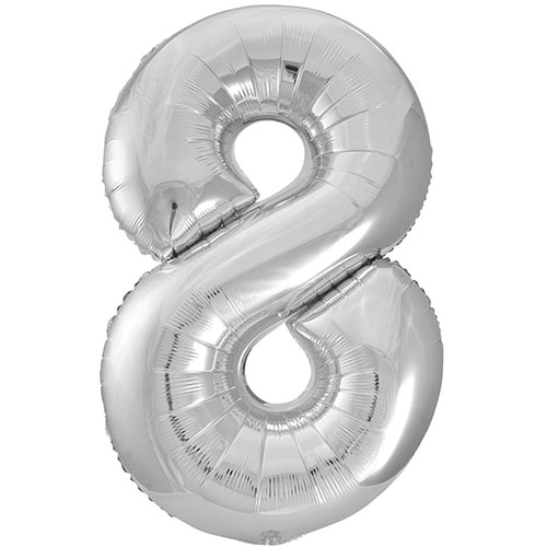 Silver Number 8 Helium Foil Giant Balloon 86cm / 34 in Bundle Product Image