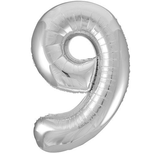 Silver Number 9 Helium Foil Giant Balloon 86cm / 34 in Bundle Product Image