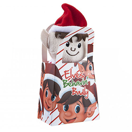 Sitting Plush Elf In Gift Bag Christmas Present 15cm